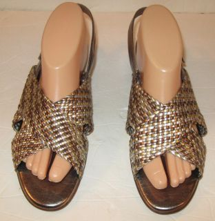 CABIN CREEK WEAVED METALIC CRISS CROSS SANDALS SZ 9 5M GOLD SILVER