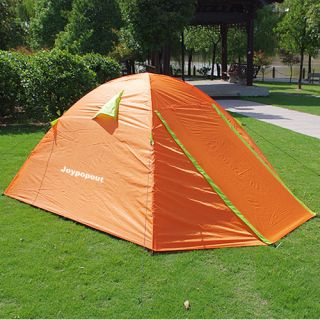 Person Outdoor Orange Aluminum Poles Camping Hiking Tent w/ Rain Fly