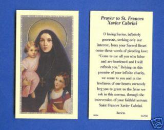 Saint Frances (Mother) Cabrini Holy Prayer Card