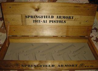 Springfield Armory 1911 5 Gun Pistol Wood Box Case