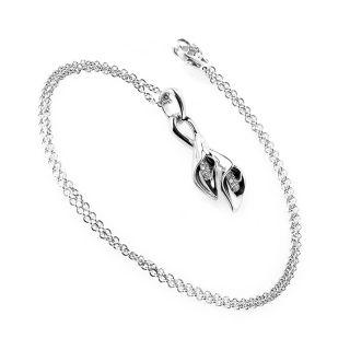 Asprey 18K White Gold Diamond Calla Lilies Pendant Necklace