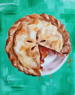 Caitlin McMenamin Art Original Oil Cherry Pie Painting 8x10in