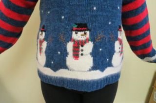 SNOWMEN UGLY CHRISTMAS SWEATER MENS WOMENS SZ S CANDY CANE STRIPES