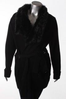 Calvin Klein New Black Faux Fur Belted Wool Collar Cardigan Sweater