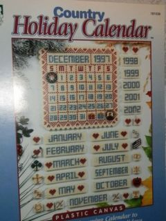 House of White Birches Country Holiday Calendar Plastic Canvas Pattern