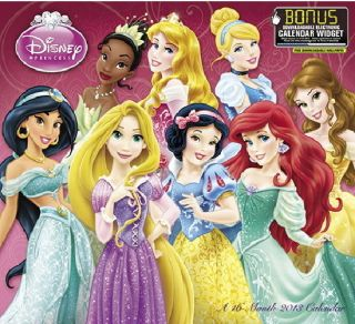 Princess Art 16 Month 2013 Wall Calendar BONUS Electronic Widget NIP