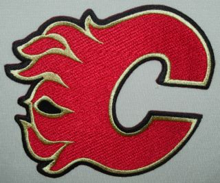 calgary flames team logo iron on patch nhl hockey
