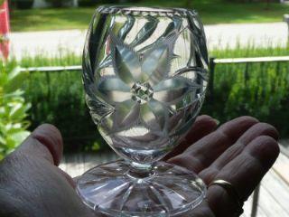 ABP Cut Glass Pedestal Toothpick Holder Canastota Diamond Poinsettia