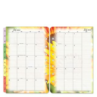FranklinCovey Classic Blooms Two Page Monthly Calendar Tabs Jul 2013