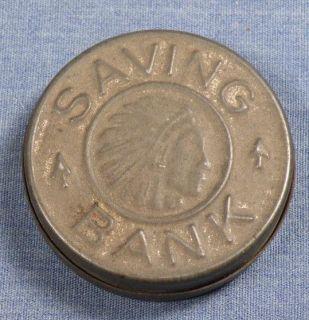 VINTAGE COIN SHAPE TIN SAVINGS BANK INDIAN HEAD ESTATE FRESH