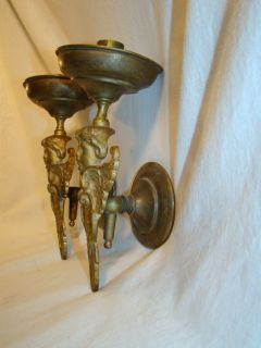 Victorian Brass Figural Winged Cherub Angel Candle Wall Sconces