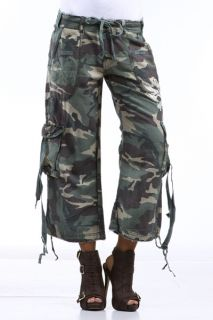 Camo Camouflage Cargo Army Embroidered Capri Pants