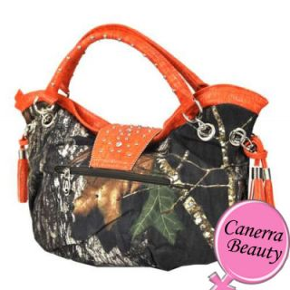 Mossy Oak Camo Rhinestone Western Belt Tassel Large Hobo Handbag Purse