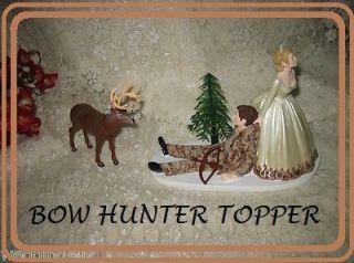 Redneck Wedding Ivory Camo Deer Bow Hunter Hunting Cake Topper