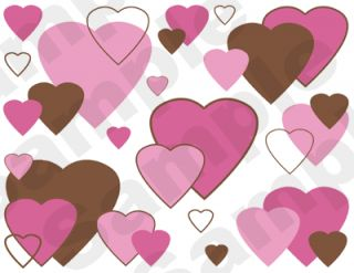 Pink Brown Hearts Baby Wall Border Stickers Decals 1
