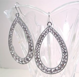 New Guess Silver Crystal Rhinestone Teardrop Earrings