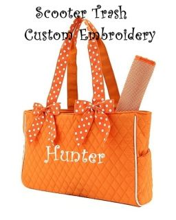 Personalized Diaper Bag Monogrammed Baby Tote Orange White New