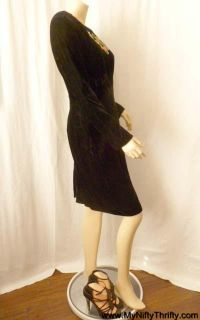 80s Vintage Black Velvet Dress Form Fitting Embroidered Beaded Vtg Sz