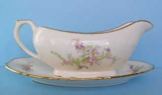 canonsburg gravy boat bouquets of pink purple flowers retail $ 32 at