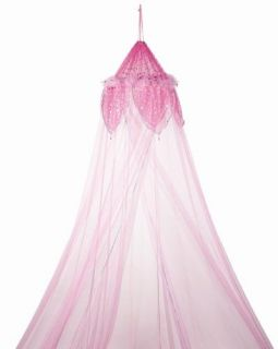 Pink Feather Metallic Moon and Star Trimmed Girls Bed Canopy