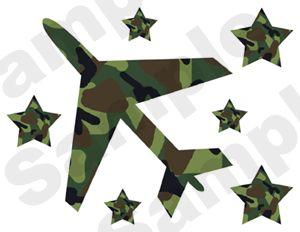 Camo Army Airplane Plane Star Wall Border Sticker Decal