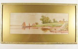 British American James Callowhill Lemon Gold Frame Original Watercolor