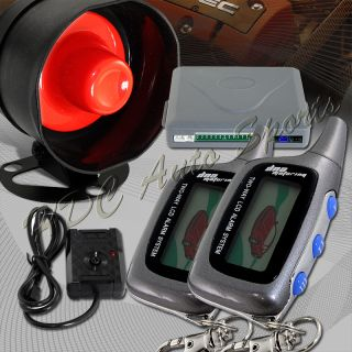 LCD 2 Way Remote Car Auto Security Alarm Siren Grey Pager Engine Start