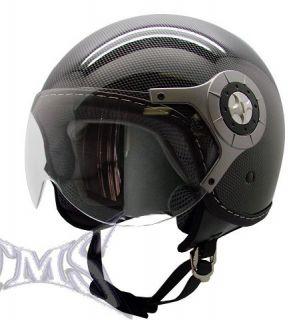 Carbon Fiber Motorcycle Open Face Jet Pilot Helmet L