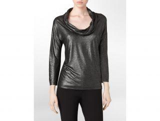 Calvin Klein Womens Metallic Cowlneck Top