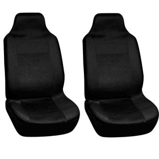 2pc Car Seat Covers Set Solid Black High Back Bucket Integrated Racing