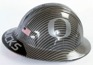 Oregon Ducks Silver Fan Hard Hat Carbon Fiber Finish