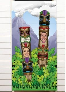 TIKI TOTEM POLE Photo Door Banner Luau Pool party pictures