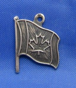 Silver Canada Flag Charm Marked Bmco Sterling