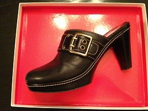 Womens Coach Signature Black Leather Candace Logo Buckle Clogs