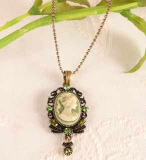 VICTORIAN VINTAGE ST ESTATE ANTIQUE GOLD GP CAMEO PENDANT NECKLACE t7