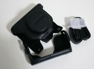 For Fujifilm Finepix X10 Camera Leather Case Bag Pouch w Strap Black