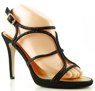 Caparros Passion Black Satin Womens Designer Shoes Evening Platform
