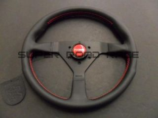 Momo Monte Carlo Steering Wheel 350mm Black Leather Red Stitch Horn