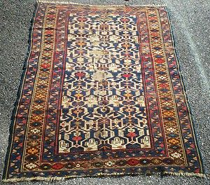 CAUCASIAN / SHIRVAN, ANTIQUE TRIBAL / VILLAGE RUG, w/ Wear, NR