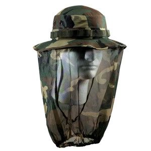 Hat with Camo Mosquito Netting Military Army Camouflage Jungle Hat