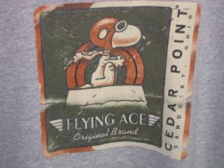 Flying Ace Brand Camp Snoopy Cedar Point Sandusky Oh T Tee Shirt Gray