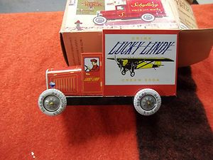 TIN LITHO TOY TRUCK LUCKY LINDY CREAM SODA VINTAGE DELIVERY