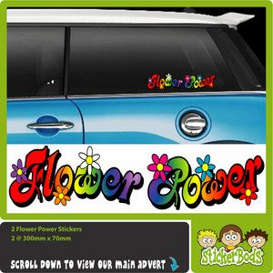 2X Flower Power Rainbow Car Stickers Decals Daisy VW
