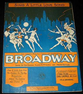 Broadway 1929 Women Dancing Love Song Art Music Sheet