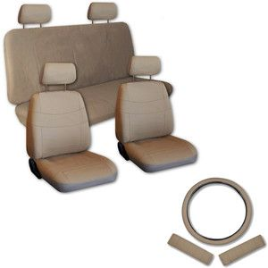 Faux PU Leather Car Seat Covers 11 Piece Set Superior All Solid Tan