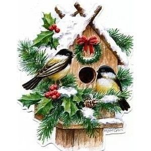 Carol Wilson Christmas Winter Birdhouse w Chickadees Boxed Greeting
