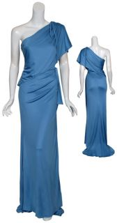 Carolina Herrera Slinky Knit Cornflower Blue Draped Evening Gown Dress