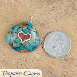 Native American Santo Domingo Turquoise with Heart Pendant SKU 224116
