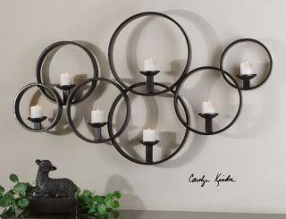 Candle Wall Sconce Modern Large Black Metal Circles Round Decor