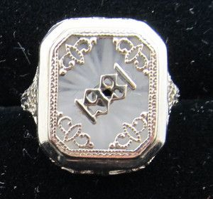 Dated 1931 Camphor Glass Ring 14k White Gold Filigree